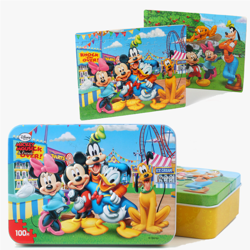 100pcs/Set Wooden Puzzle With Iron Box Cartoon 3D Wood Puzzle Jigsaw Wood Toys For Children Early Educational Toys Action