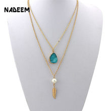 Newest Druzy Simulated Quartz Teardrop Faux Stone Leaf Pendant Imitation Pearl Double Layered Chain Necklace For Women Girl Gift(China)