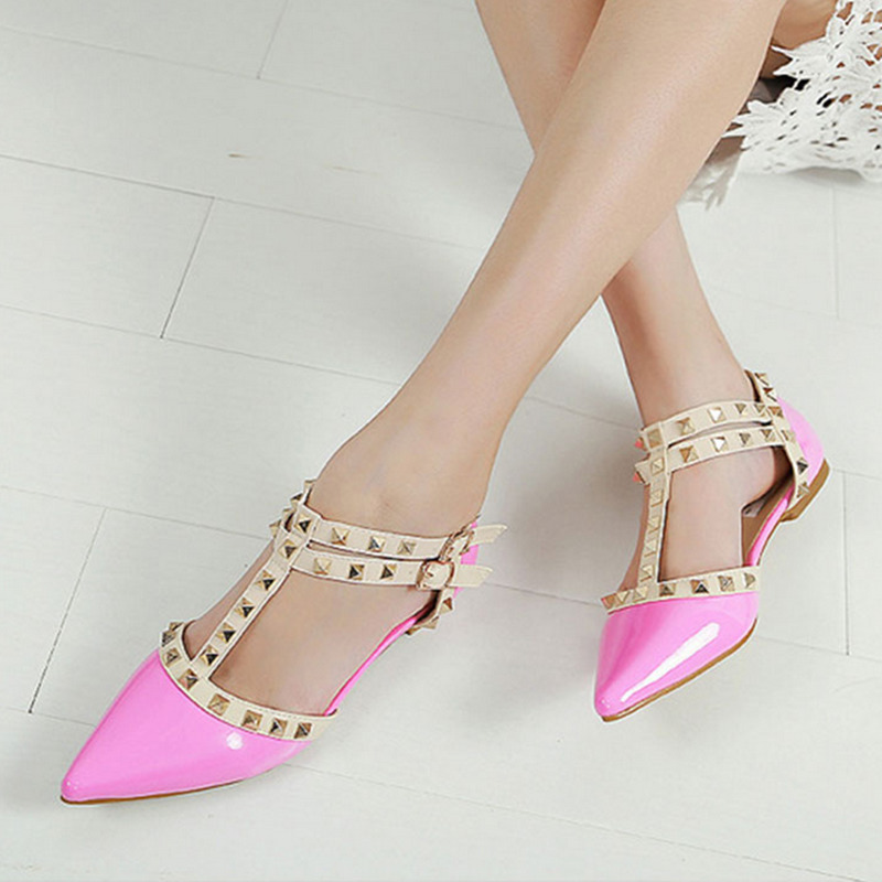 2016 new arrival pointed toe women flats patent leather gladiator flats shoes sexy brand plus size stud women ballet flat new 2017 spring summer women shoes pointed toe high quality brand fashion womens flats ladies plus size 41 sweet flock t179
