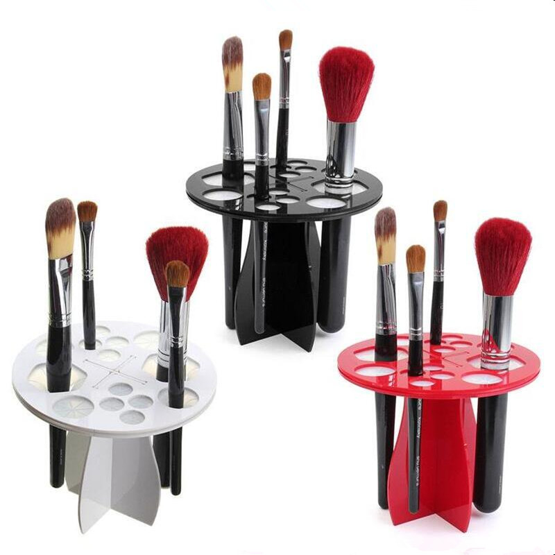 2017 1PC Stand Makeup Folding Air Drying Brush Rack Holder Acrylic Cosmetic Artifact Round Type Without Brush Free Shipping I030 easy install brush drying rack tree for different standard holes random color