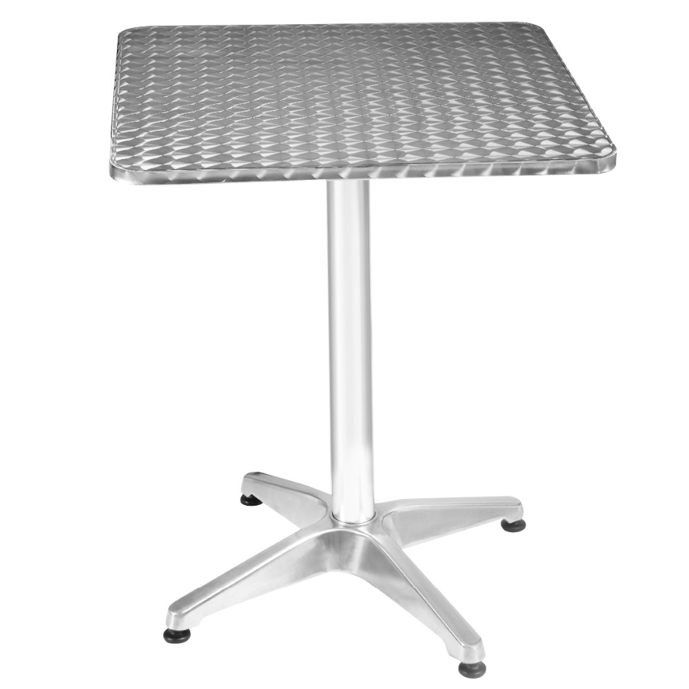 Goplus RU 60*110cm Aluminum Stainless Steel Square Table Modern Patio Garden Tables Bar Pub Restaurant Portable Desk OP2797 aluminum alloy portable outdoor tables garden folding desk with waterproof oxford cloth