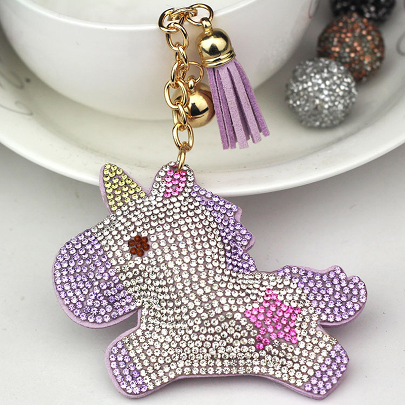 Full Crystal Rhinestone Unicorn Keychain Car Keyrings Women's Bags Decoration Accessories Horse Pendants Cute Animal Gift