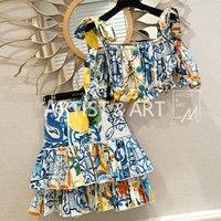 Дизайнер взлетно посадочной полосы Для женщин комплект из 2 частей сладкий праздник Высокая талия печати ремень хлопковая блуза Топы много