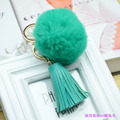 Brand Leather Tassel Keychain Real REX Rabbit Keyring Fur Pompom Key Chains Rabbit Fur Ball Keychains Key Chain Women Bag Charm