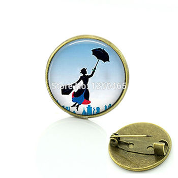 2017 Real Sale Glass Broche Brooches For Mary Poppins Jewelry Brooch Art Pture Lass Cabochon Dome Medal Your Finish Choe C 518 image