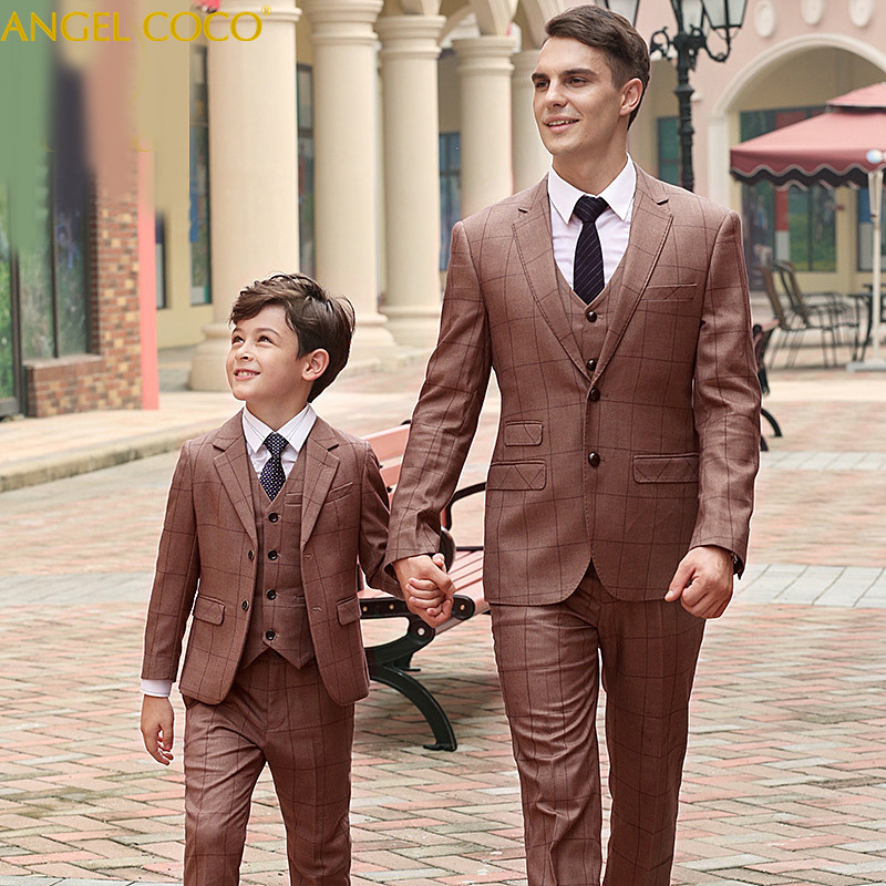 3 Pieces Fashionable Family Clothing Brown Plaid Father And Son Clothes Daddy Matching Outfits Papa Suit Vest Pants Fashion Show fashionable plaid pattern pink color matching 5cm width tie for men