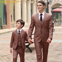 3 Pieces Fashionable Family Clothing Brown Plaid Father And Son Clothes Daddy Matching Outfits Papa Suit Vest Pants Fashion Show