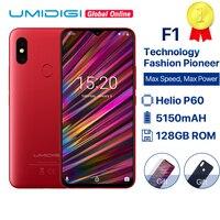 UMIDIGI F1 6,3 в виде капли воды, FHD Helio P60 AI Смартфон Android 9,0 4 Гб Оперативная память 128 Гб Встроенная память 5150 мАч батарея мобильного телефона NFC 16MP 4G