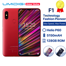"UMIDIGI F1 6.3 ""Waterdrop FHD Helio P60 AI สมาร์ทโฟน Android 9.0 4GB RAM 128GB ROM 5150mAh โทรศัพท์มือถือ NFC 16MP 4G โทรศัพท์มือถือ"