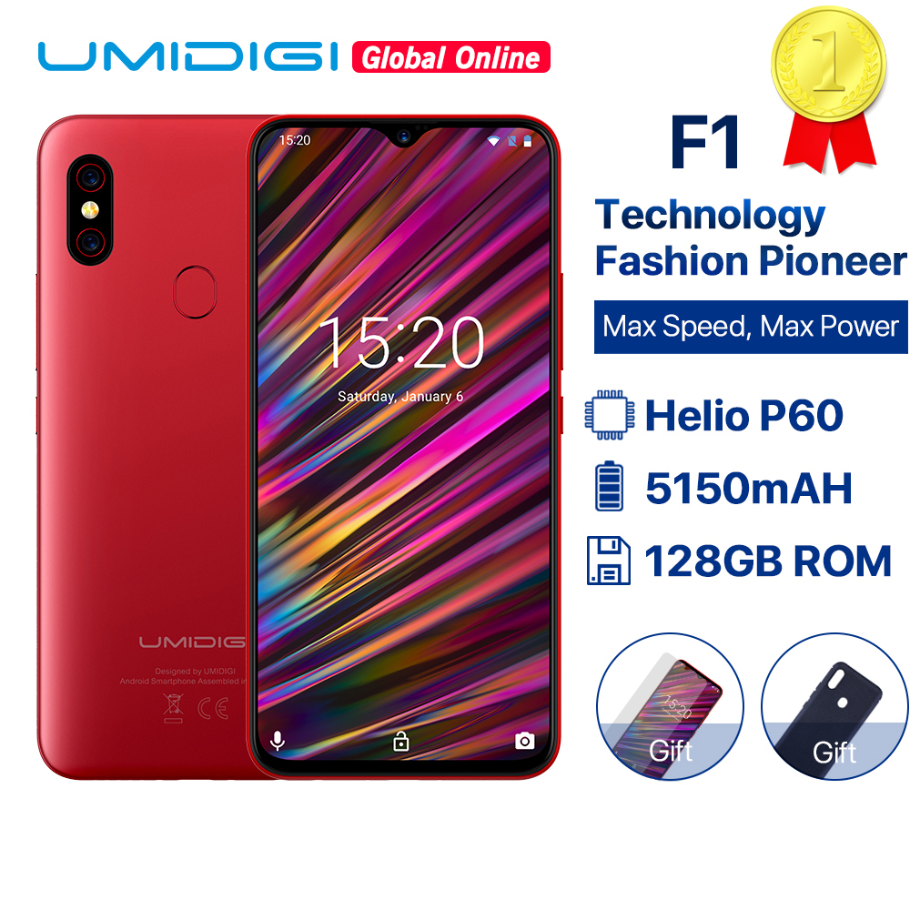 UMIDIGI F1 6.3 Waterdrop FHD Helio P60 AI smartphone Android 9.0 4GB RAM 128GB ROM 5150mAh téléphone portable NFC 16MP 4G téléphones portables