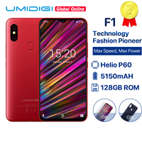 UMIDIGI F1 6.3 Waterdrop FHD Helio P60 AI smartphone Android 9.0 4GB RAM 128GB ROM 5150mAh Mobile phone NFC 16MP 4G cell phones