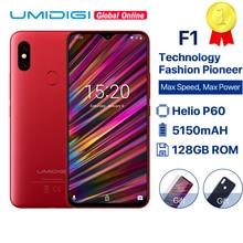"UMIDIGI F1 6.3 ""Waterdrop FHD هيليو P60 AI الهاتف الذكي أندرويد 9.0 4GB RAM 128GB ROM 5150mAh الهاتف المحمول NFC 16MP 4G هواتف محمولة"