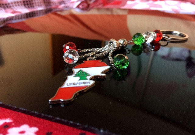 US $3 0  Lebanon flag color Keychain car lady bag key holder key ring  Lebanese map jewelry necklace pendant Gift Liban Keyring Libano-in Party  DIY