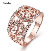 b52373b97057 Visisap Dropshipping. exclusivo. trébol patrón flores anillos para las  mujeres oro Color de rosa de Zircon brillante dama anillo.