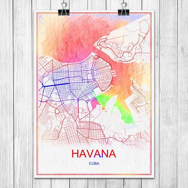 AVANA Cuba Famosa Città Del Mondo Mappa Stampa Poster Astratta ...