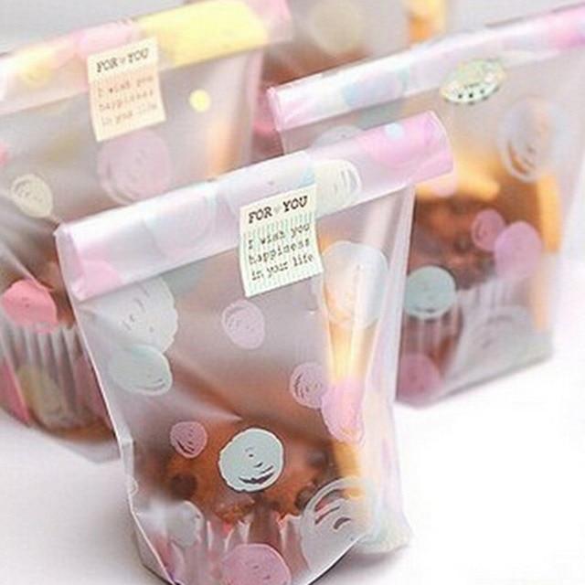 100 cái/lốc 12*20 cm Mờ dots Nhựa cookie bao bì túi cupcake wrapper tự dính túi quà tặng