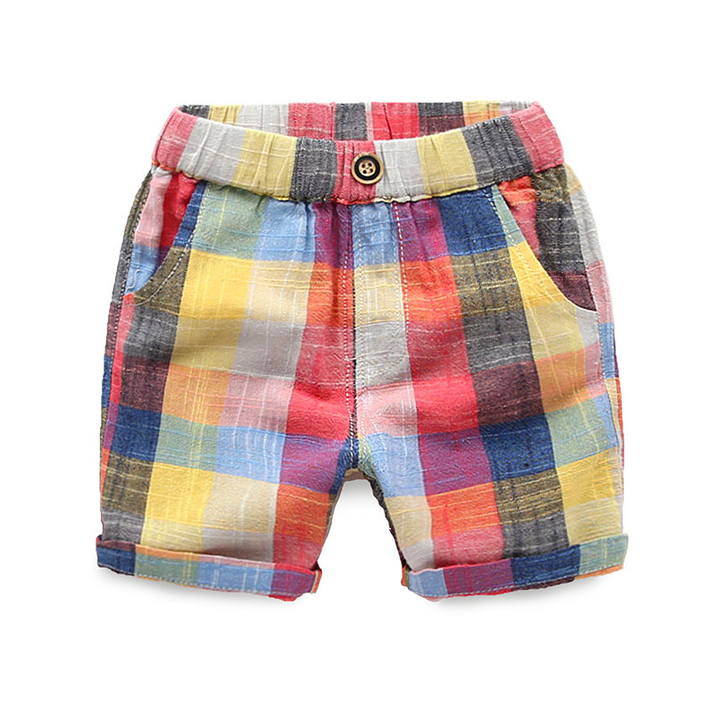 2018 Summer Boys Fluid Systems   Shorts   Children's Clothing Plaid Baby Boy Pants Kids Trousers Free shipping 2-6 years