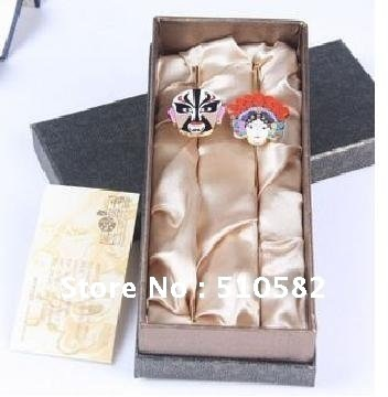 Top Grade Original Chinese Culture Bussiness Gift Set: China Opera  Bookmark- A pair of China Male & Female( 2pcs/Lot) Free
