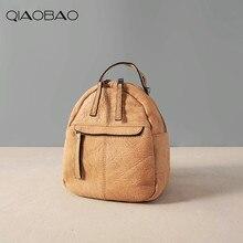 Qiaobao Ретро Натуральная кожа сумка женская сумка Новинка 2017 года корейский стиль женские Модные Коускин рюкзак