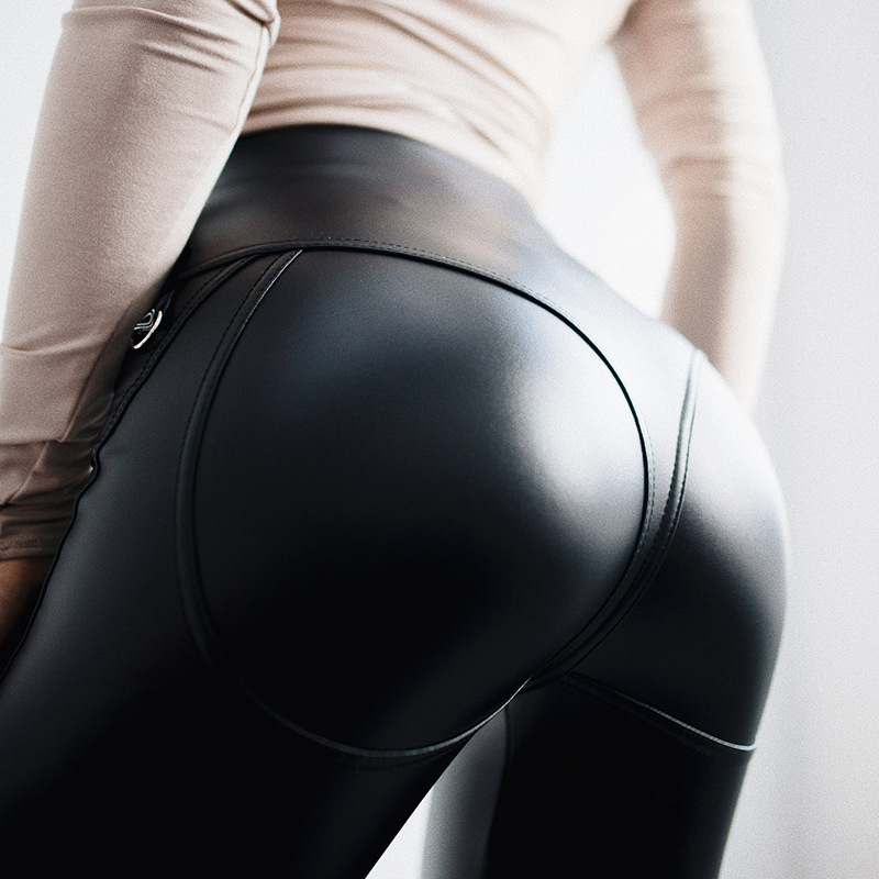 EOEODOIT Women Fashion Sexy Leather Party Club   Leggings   Zipper Closure Hip Push Up V Waist Pants Trousers Gothic   Leggings   80123