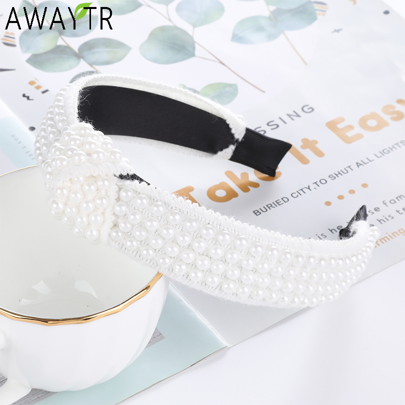 AWAYTR Black White Pearl Headbands for Women Cross Tie Hairbands Spanish Style   Headwear   Headband Knitted Hair Accessories