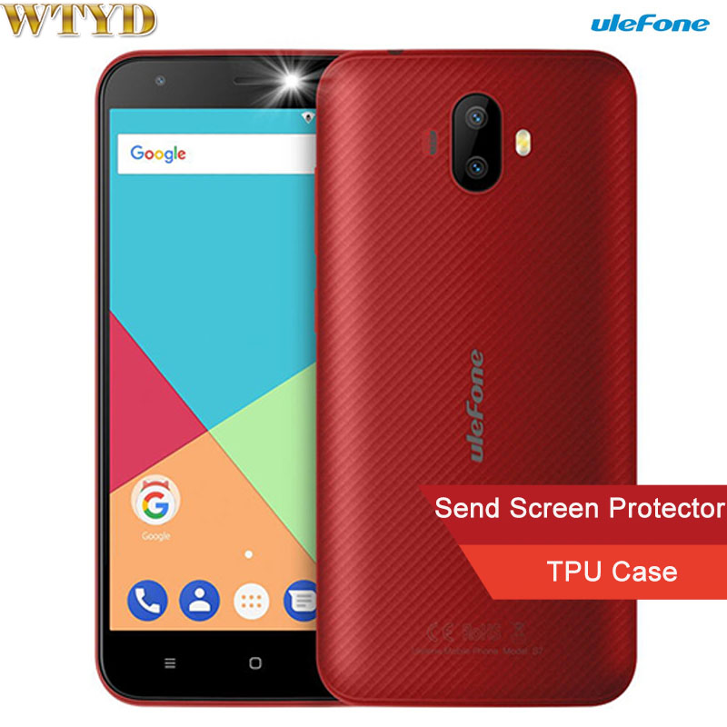 Ulefone S7 1GB+8GB Dual Back Cameras 5.0'' Android 7.0 MTK6580A Quad Core 32-bit up to 1.3GHz Network 3G Dual SIM 2500mAh