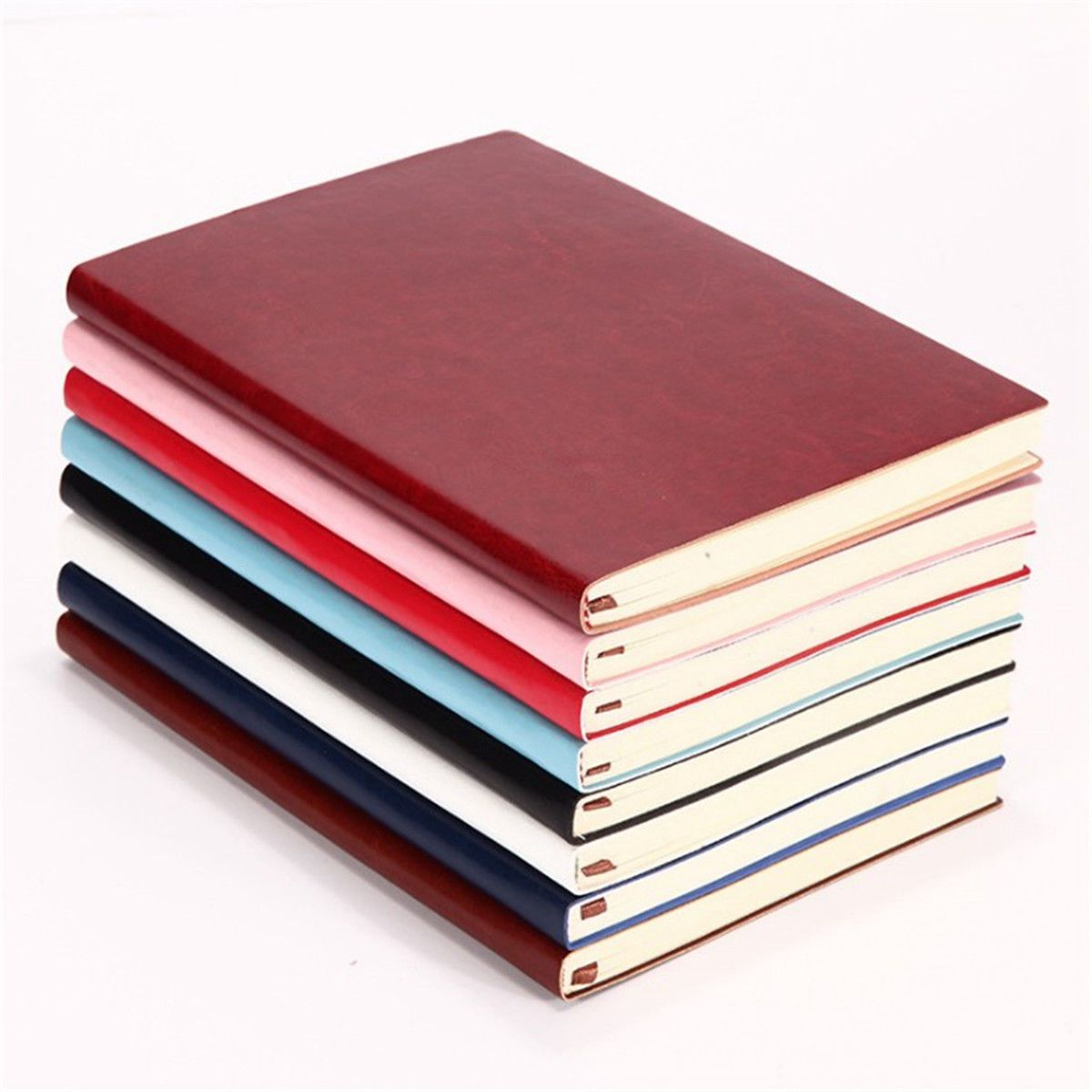6 Color Random Soft Cover PU Leather Notebook Writing Journal 100 Page Lined Diary Book page 2 page 8 glitter powder catalogue regular color