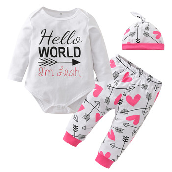Newborn Baby Girls Clothes Hello World 100%Cotton Long Sleeve Romper Tops+Pant Hat Outfits 3PCS Toddler Kids Clothing Set