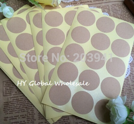 150PCS/Lot  New Vintage Blank Round Kraft seal Sticker for Handmade Products 35mm Round Gift sealing sticker DIY note label