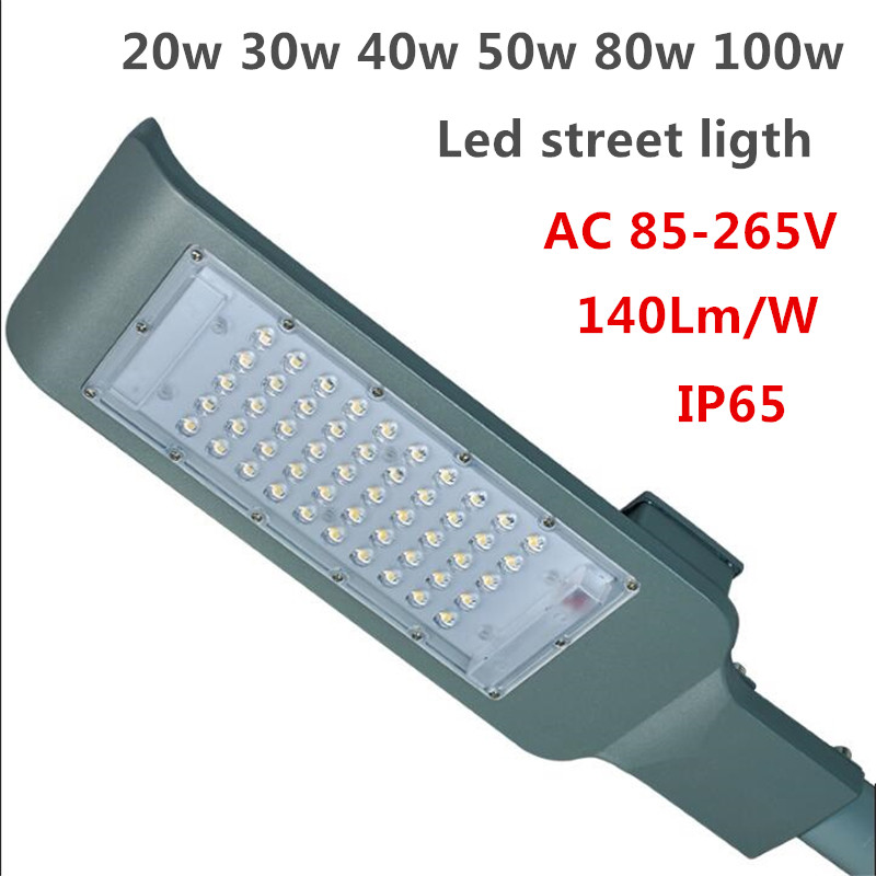 LED Street Lights 20w 30w 40w 50w 80w 100w led street lamp SMD 3030chip 140Lm/W ultra-th ...