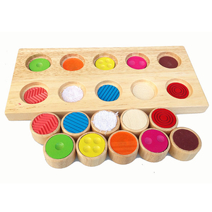 Early Learning Educational Toys For Children Montessori Sensory Touch Feeling Train Tools Color Matching Games Wooden Toys(China)