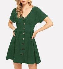 купить Short Sleeve 2019 Women Slim Button Summer Dress New Solid Cotton Casual V-Neck Knotted Short Mini Dress with Buttons Vestidos по цене 999.57 рублей