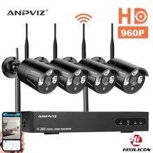 Anpviz Wireless Security Camera System 4CH 1080P WIFI NVR Kit CCTV 4pcs 960P Indoor/Outdoor Bullet IP Cameras P2P Night Vision