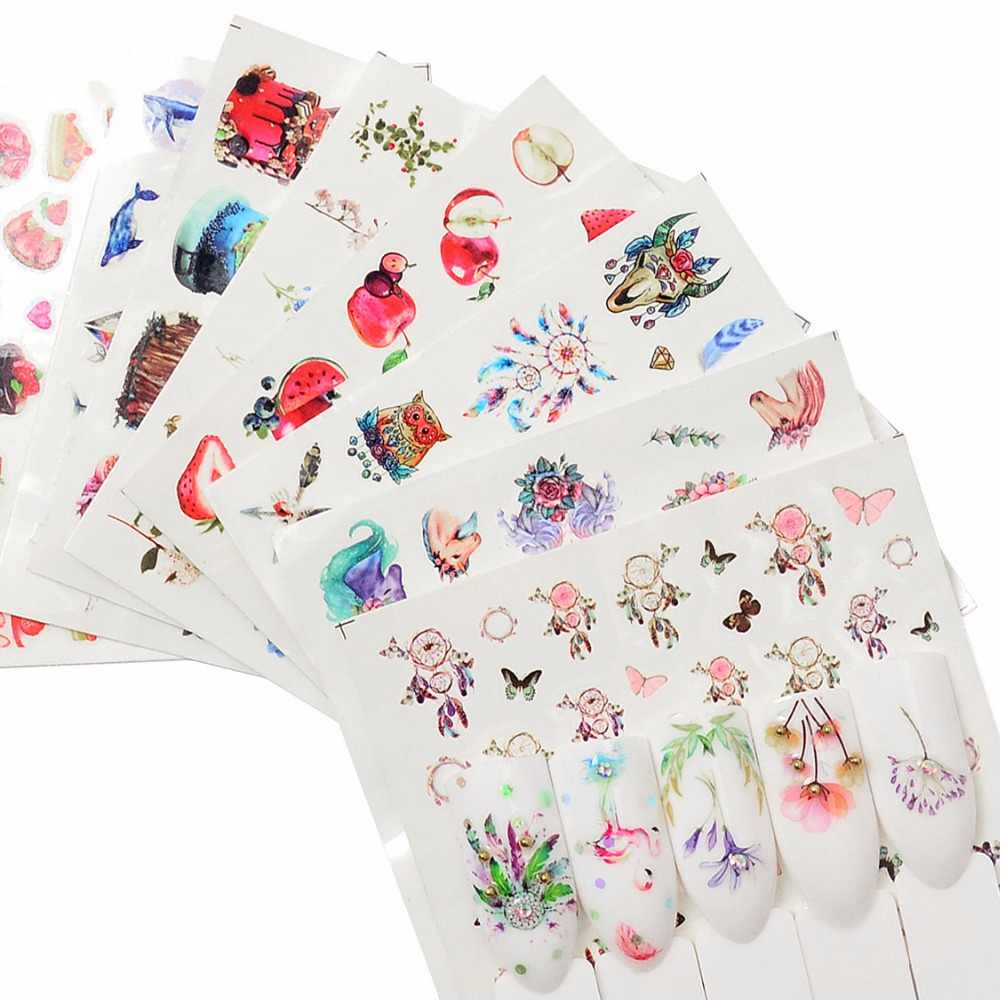 FWC 1 PC Cartoon Flamingo /Flower/Fruit Water Transfer Sticker Nail Art Decals DIY Fashion Wraps Tips Manicure Tools