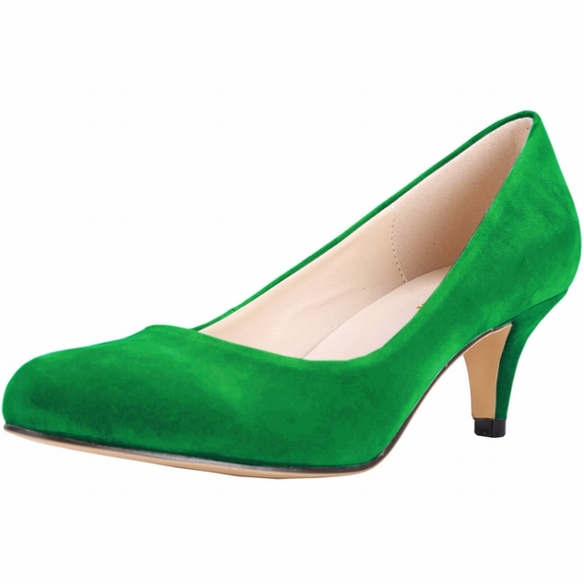 New Women Thin Heel Pumps Fashion Red Green High Heels Women Work Shoes Flock Classic Office Heels Ladies Shoes SMYNLK-C0102