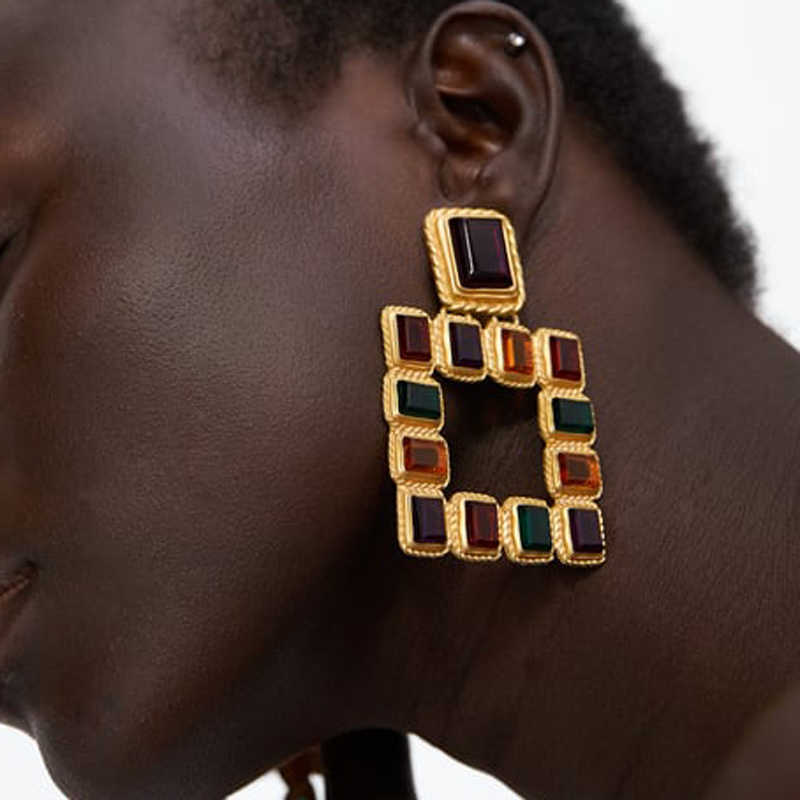 10f0aa84c Detail Feedback Questions about JUST FEEL Vintage New Crystal Drop Earrings  2018 Trendy ZA Large Square Big Dangle Earring Fashion Female Punk Jewelry  For ...