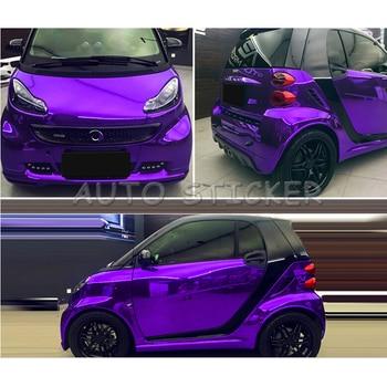 Purple Stretchable Chrome Mirror Car Wrap Vinyl With Air Bubble Free Vehicle Covering Fleixble Chrome foil Sticker 1.52*20M/Roll