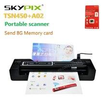 Escáner portátil skypix TSN450 + A02 HD1200dpi docking alimentación Automática del Documento A4 Escáner Fotográfico enviar tarjeta de 8G
