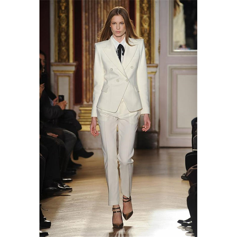 new Pants suit Work Wear Women Business elegant Pant Suit Slim formal Ivory Long Sleeve Blazer With Trousers Office Ladies Suits