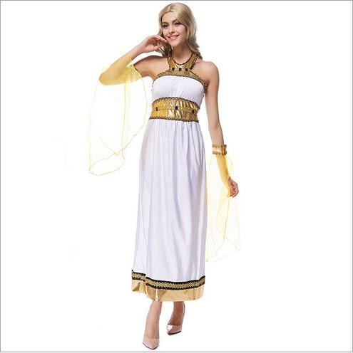 2017 новое поступление греческой богини костюм для Хэллоуина царица Египта арабских платье белое платье для выпускного Костюмы M XL