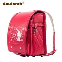 Coulomb Red Princess Backpack For Girl School Bag Cat Hasp Character Orthopedic Japanese Randoseru PU Kid Backpacks 2017 New