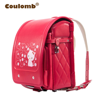 Coulomb Red Princess Backpack For Girl School Bag Cat Hasp Character Orthopedic Japanese Randoseru PU Kid Backpacks 2017 New