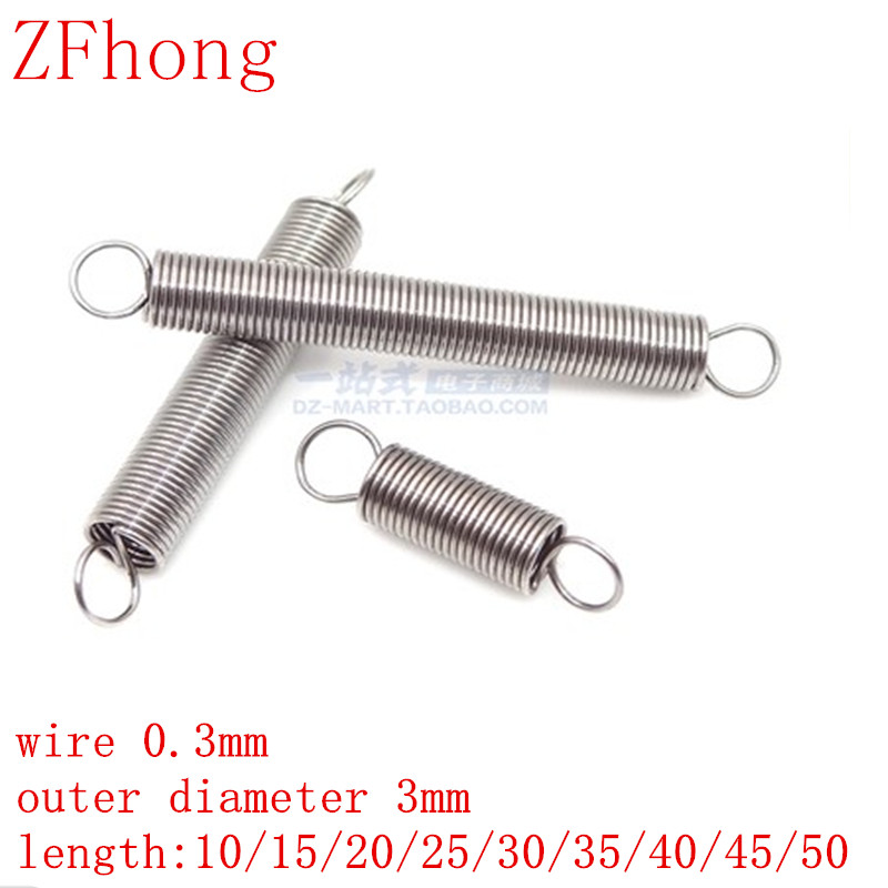 10pcs/lot 0.3mm 0.3mm x 3mm x L Stainless Steel tension spring extension spring outer diameter 3mm, length 10-50mm image