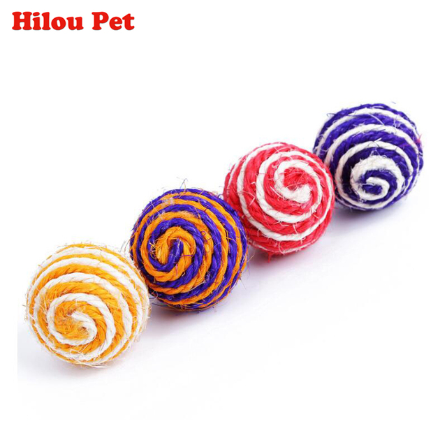 4 pz pack Colorato Gatto Dell'animale Domestico Sisal Corda Intrecciata Sfera Te