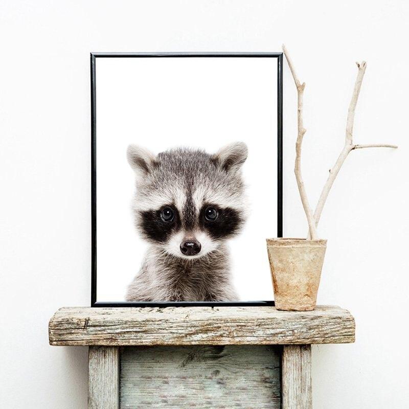 Woodland Animal Raccoon Canvas Print Nursery Wall Art
