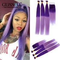 Guanyuhair светло фиолетовый перуанский Ombre Hair 3 Связки с 4X4 кружева застежка фиолетовый цвет прямо Реми натуральные волосы ткет