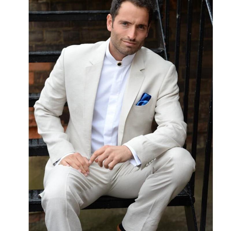 Custom Made Ivory Men Slim Fits suits Tuxedo Wedding Suits Groom ...