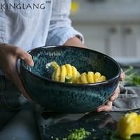 1PC Japanese Style Ceramic Peacock Pattern Large Capacity Salad Bowl Soup Bowl Tableware