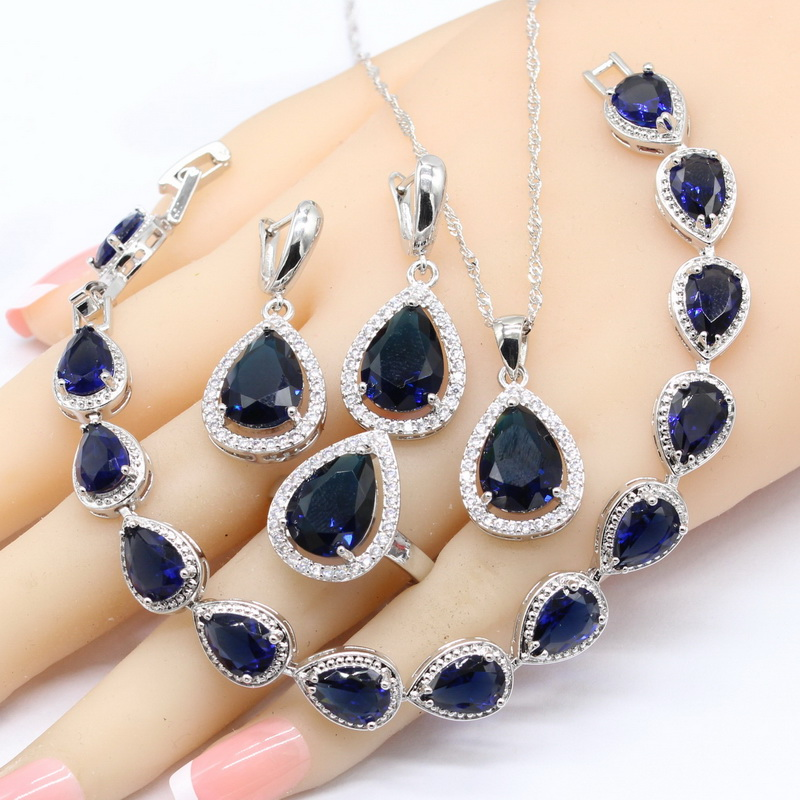 925 Silver Color Jewelry Sets For Women Water Drop Blue Stones White CZ Bracelet Earrings Necklace Pendant Rings 925 Silver Color Jewelry Sets For Women Water Drop Blue Stones White CZ Bracelet Earrings Necklace Pendant Rings