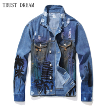 2019 New Man print Denim Jacket Blue Ripped Hole Praint Letter Men Punk Style Long Sleeve Male Personal Amazing Jeans Jackets men letter print ripped denim vest
